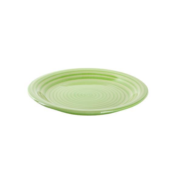 Talíř dezertní s proužky keramika, 19,5 cm, zelený