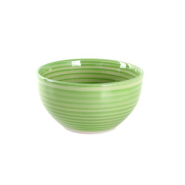 Miska s proužky keramika, objem 650 ml, zelená