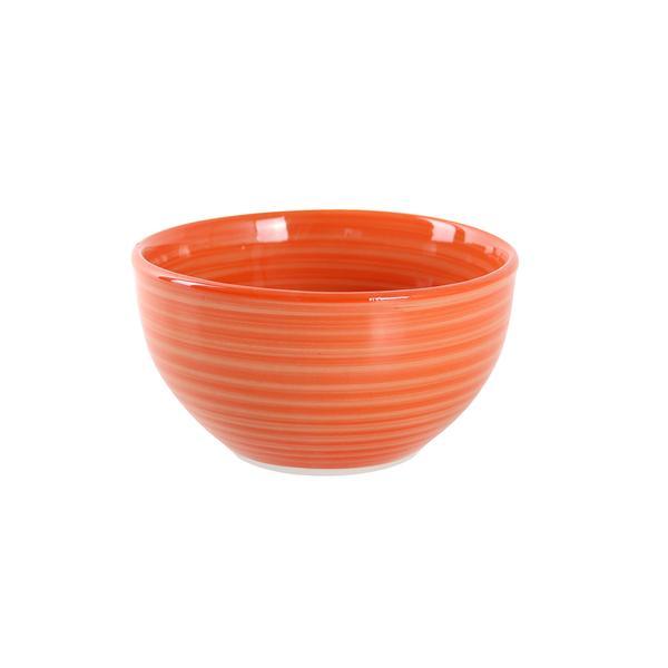 Miska s proužky keramika, objem 650 ml, oranžová