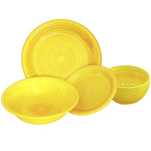 Miska s proužky keramika, objem 650 ml, žlutá