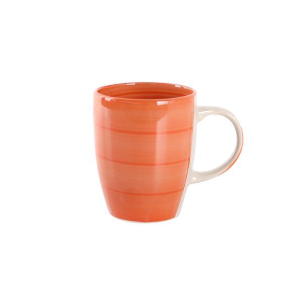 Hrnek s proužky keramika, objem 280 ml, oranžový
