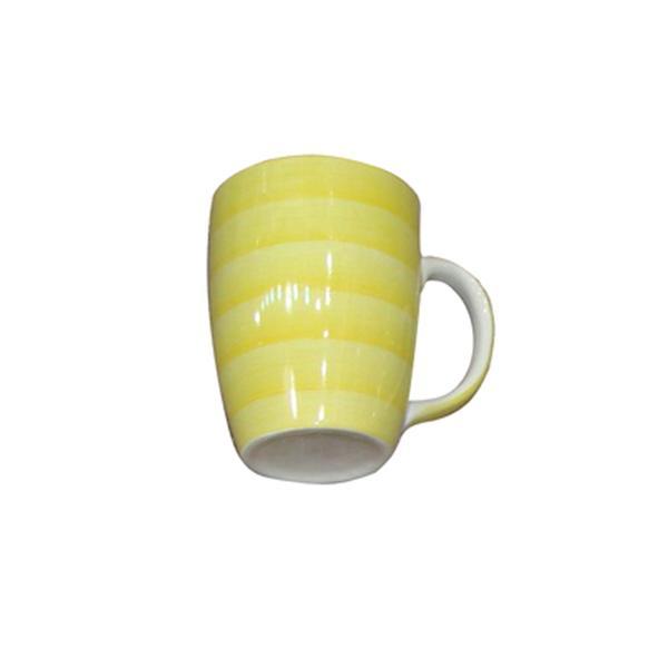 Hrnek s proužky keramika, objem 280 ml, žlutý