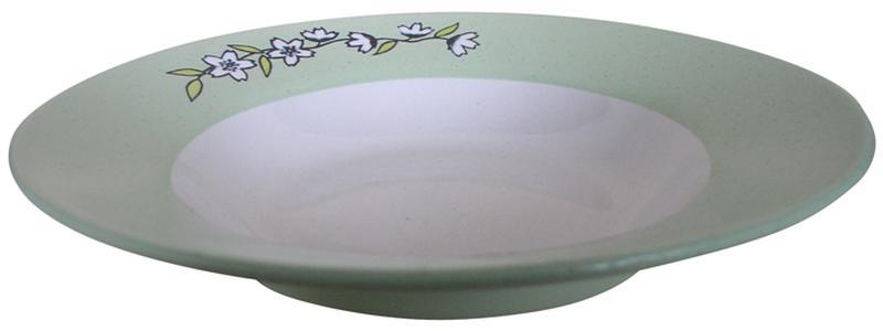 Talíř polévkový s květinou,  22, 5 x 4, 5 cm