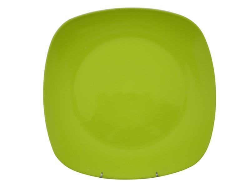 Talíř jídelní, čtverec, 25,6 cm, zelený