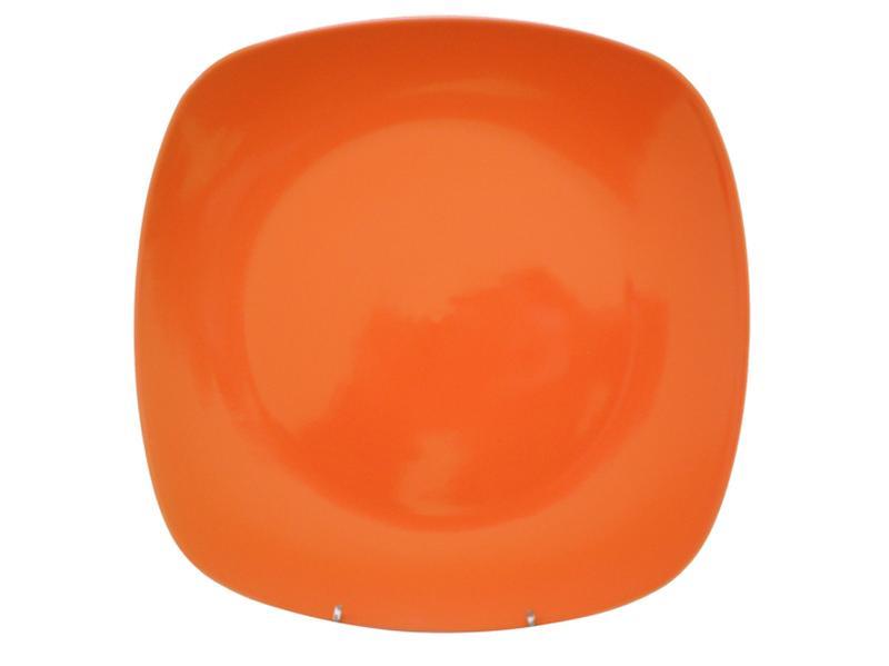Talíř jídelní, čtverec, 25,6 cm, oranžový