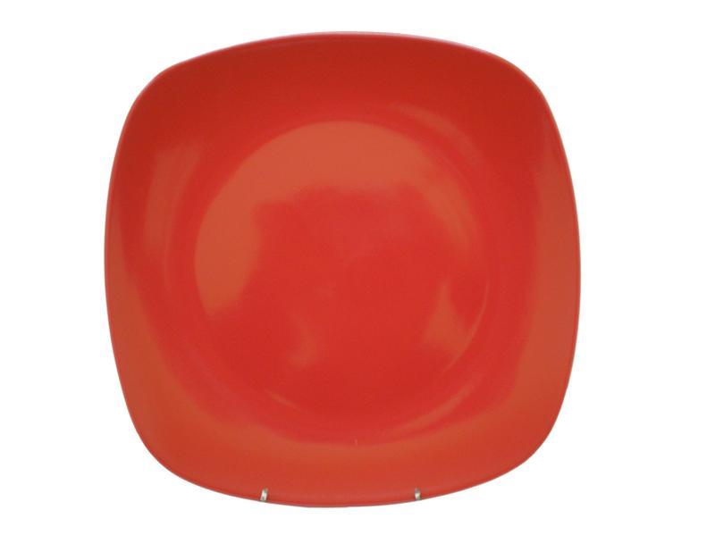 Talíř jídelní, čtverec, 25,6 cm, červený