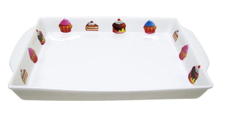 Tác obdélníkový s dekorem dortíky,  27, 2 x 28 x 3, 3 cm