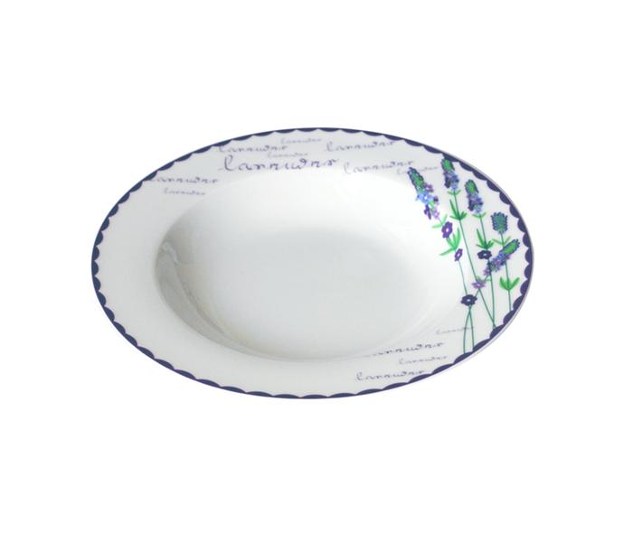 Talíř polévkový, keramika, motiv levandule