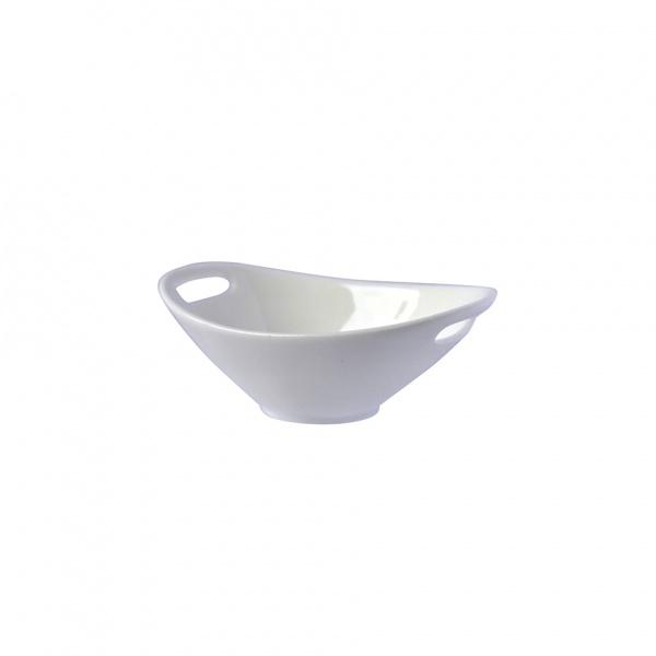 Miska porcelán 90 ml, oválná s uchy, bílá