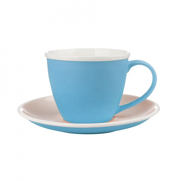Šálek podšálek, porcelán, modrý mat