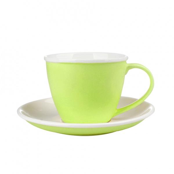 Šálek podšálek, porcelán, zelený mat