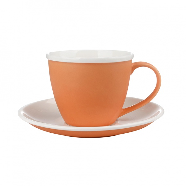 Šálek podšálek, porcelán, oranžový mat