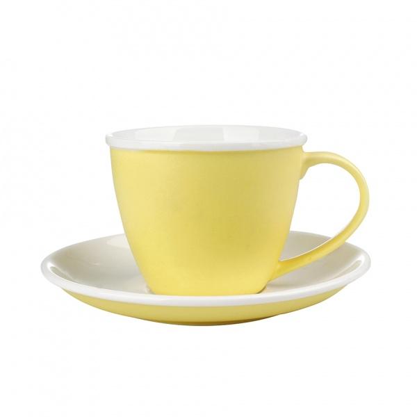Šálek podšálek, porcelán, žlutý mat
