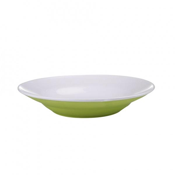 Talíř polévkový, porcelán, zelený mat, 20,5 cm