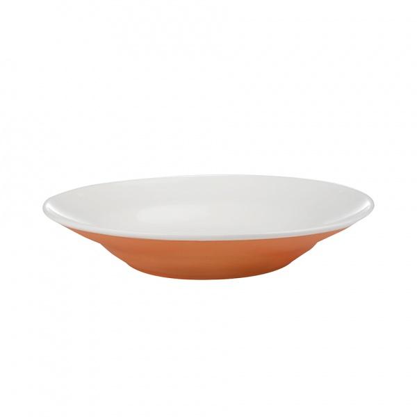 Talíř polévkový, porcelán, oarnžový mat, 20,5 cm