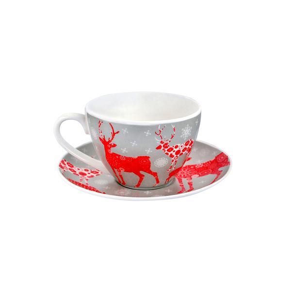 Hrnek s podšálkem 180 ml, vánoční motiv, porcelán
