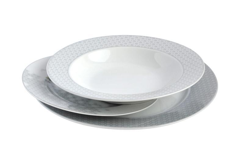 Talíř polévkový, porcelán, bílo-šedý, 21 cm