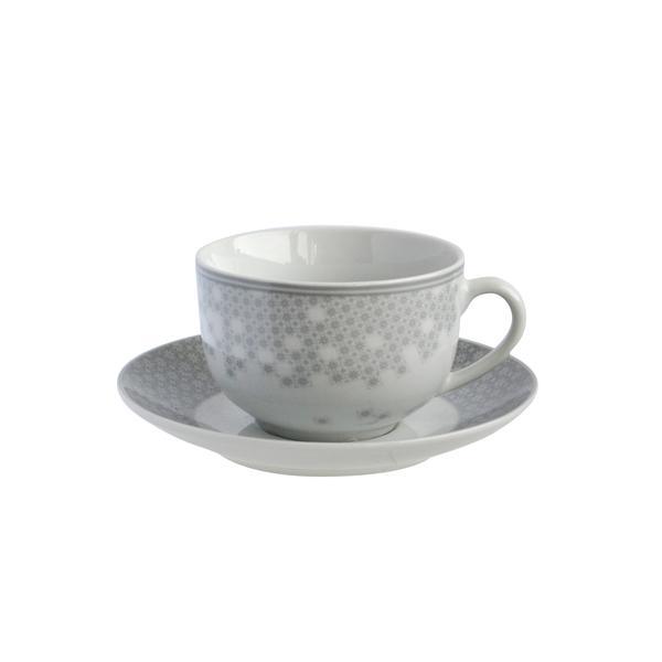 Šálek s podšálkem, porcelán, bílo-šedá, 100 ml