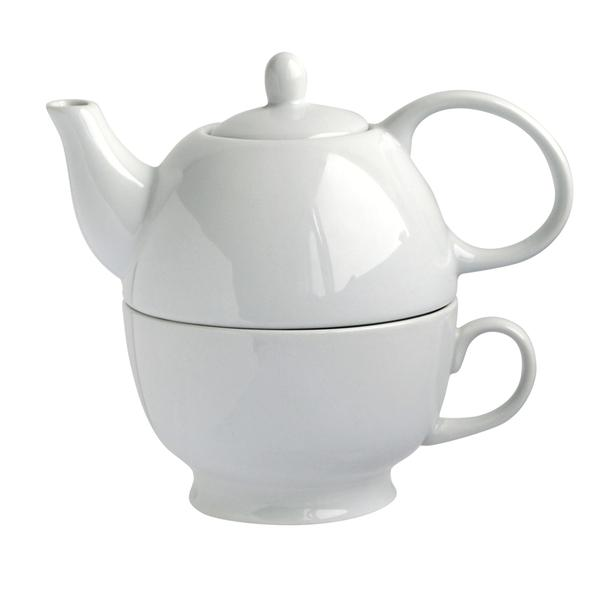 Konvička na čaj 480 ml se šálkem 320 ml - 2 v 1 ,porcelán