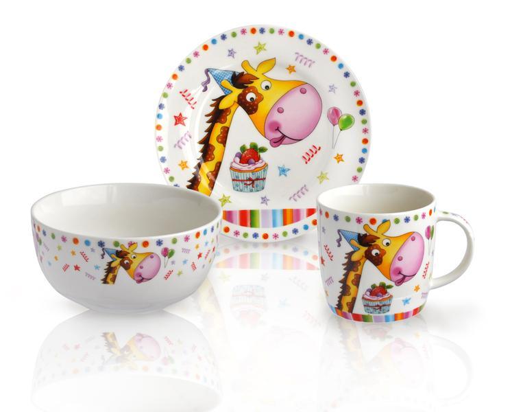 Dětský snídaňový set, 3 ks, opice/žirafa