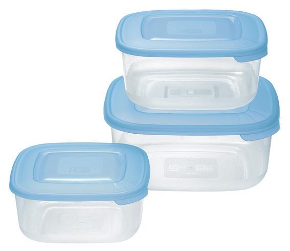 Sada 3 ks plastových dóz Tontarelli, čtverec, assort