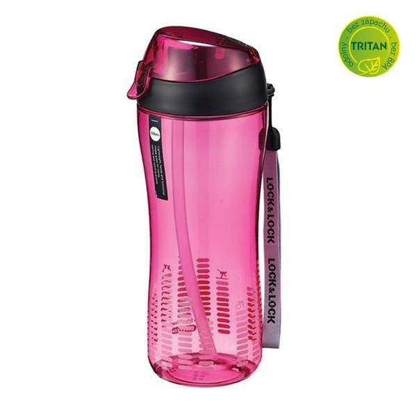 Sportovní láhev lock 550 ml se silikonovým brčkem - růžová