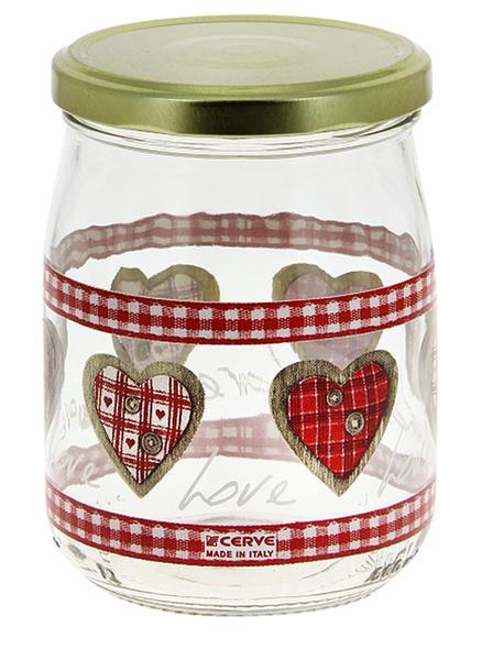 Sklenice zavařovací 0, 5 l s víčkem, dekor srdce