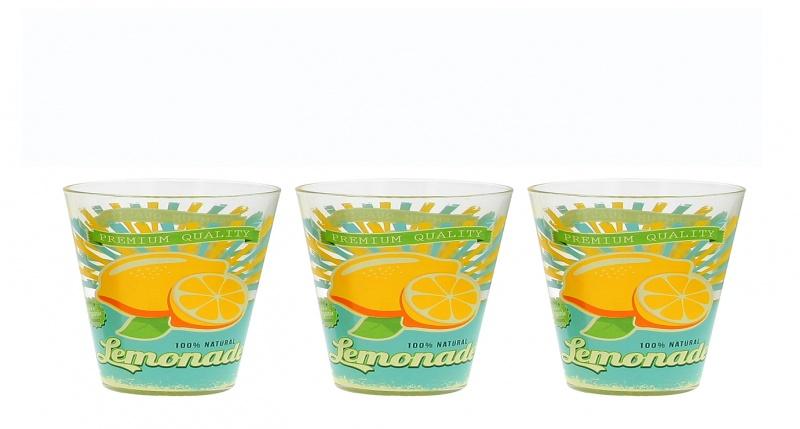 Sklenice na vodu 3 ks - 250 ml, citron